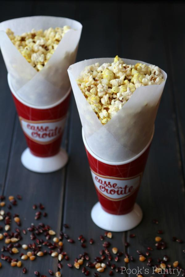 coconut oil popcorn in cones