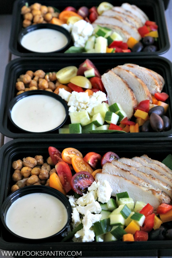 chicken meal prep bowls with dressing cups