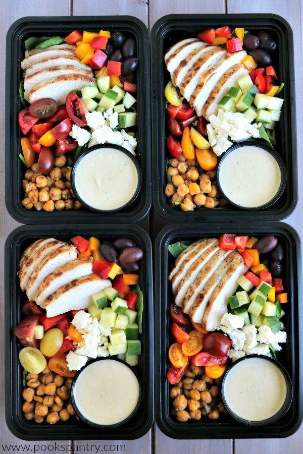 4 chicken meal prep bowls lined up