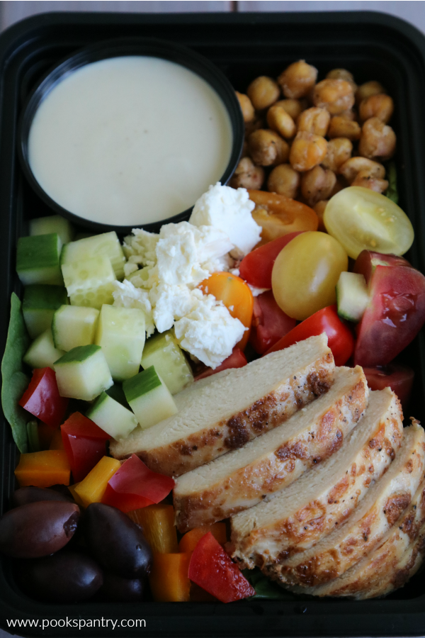 chicken with Mediterranean vegetables meal prep lunch