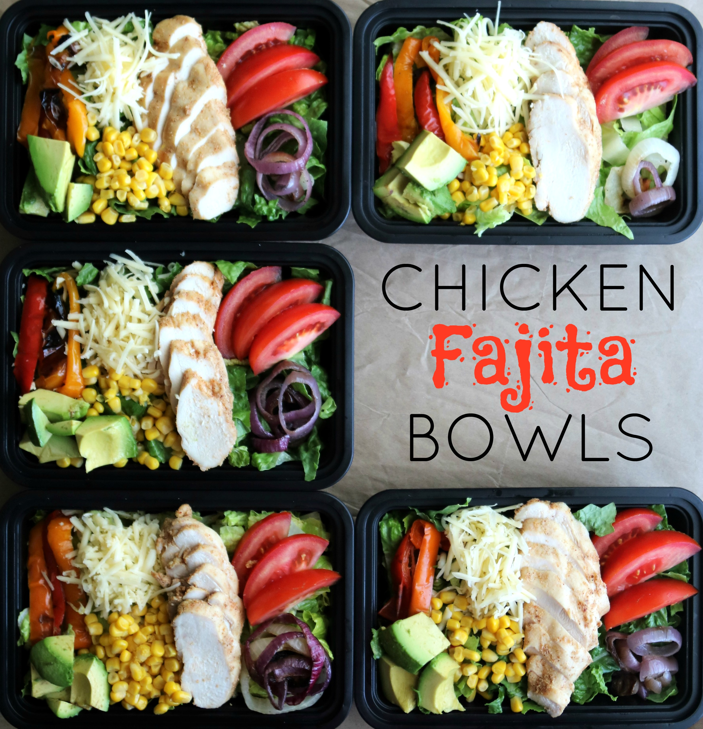 overhead view of chicken fajita bowls
