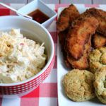 Pimento Cheese Potato Salad with Fried Chicken Tenders on Cheddar Dill Potato Biscuits