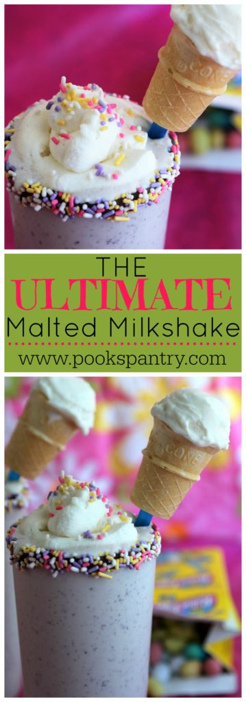 the Ultimate Malted Milkshake - Made with Robin Eggs® candy, extra malted milk powder, homemade whipped cream and a mini ice cream cone garnish - this is the ULTIMATE malt!