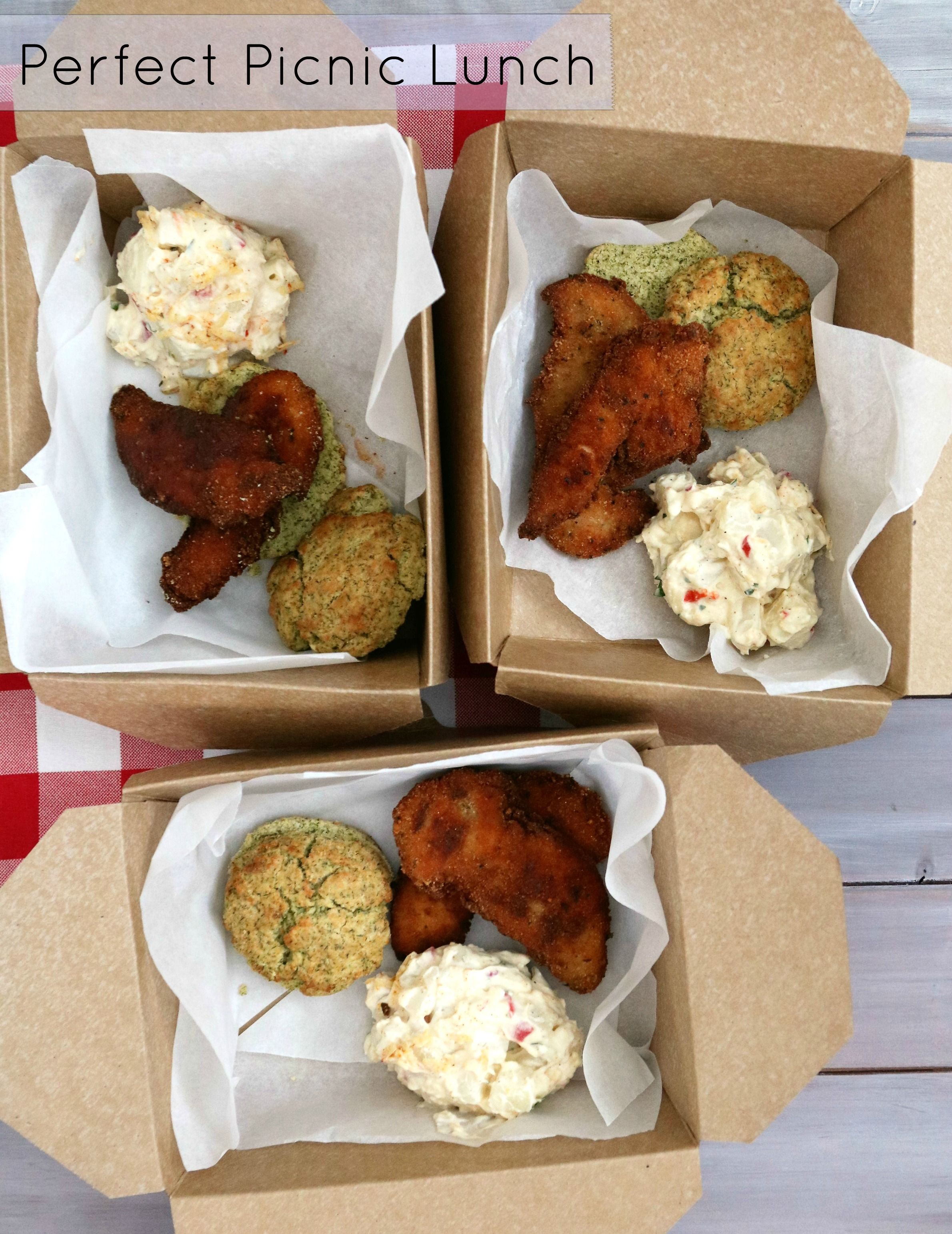 box lunches with chicken, biscuit and potato salad