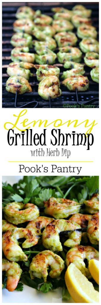 Lemony Grilled Shrimp with Herby Dip | Pook's Pantry A quick and easy crowd-pleasing nibble for all your summer soirees!