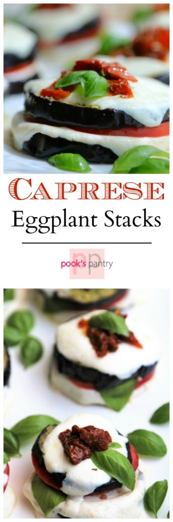 Caprese Eggplant Stacks - Pesto Slicked roasted eggplant slices with ripe summer tomatoes and melted fresh mozzarella. Perfect summer bite! | Pook's Pantry