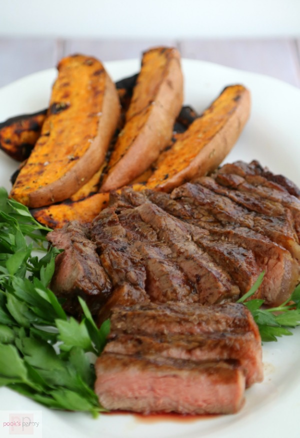 Espresso Bourbon Glazed Steak & Grilled Sweet Potatoes