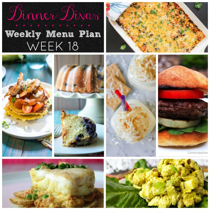 Dinner Divas Menu Plan - each week, 5 dinners plus 2 extra recipes are delivered to your inbox.  Dinner Divas try to make life easier, one meal at a time.