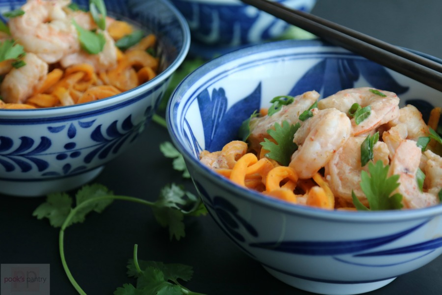 Thai Red Curry Coconut Shrimp with Sweet Potato Noodles | Pook's Pantry