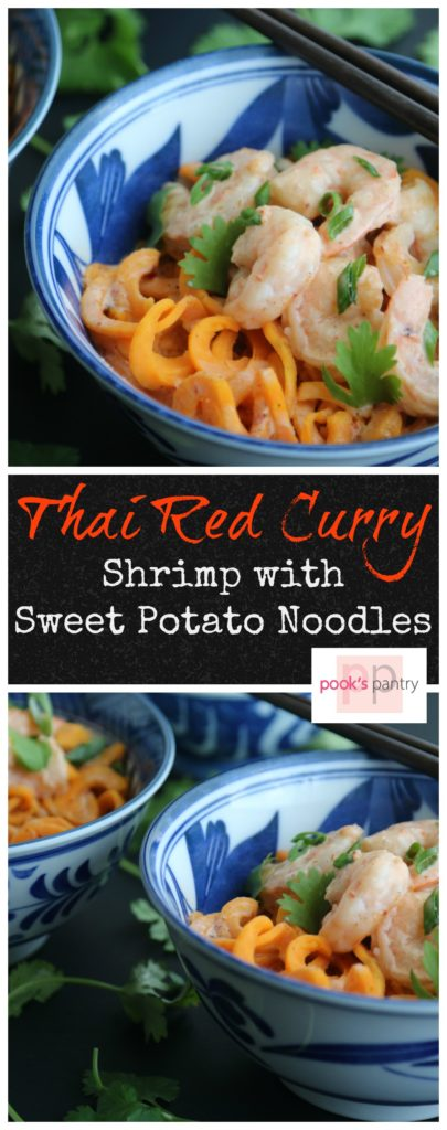 Thai Red Curry Coconut Shrimp with Sweet Potato Noodles is full of flavor, quick and easy. Dinner in about 30 minutes. Weeknight meal have never tasted so good! | Pook's Pantry
