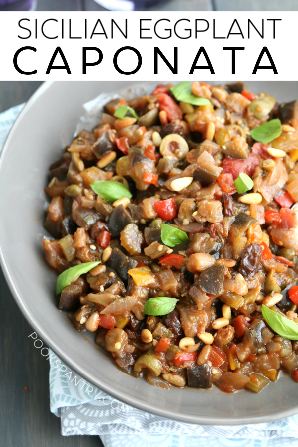Eggplant caponata is a delicious condiment. It is earthy from the eggplant, salty from capers & olives, tangy from vinegar and gets texture from the pine nuts. It is incredibly delicious!
