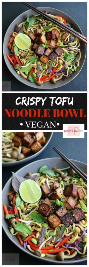 Crispy Tofu Asian Noodle Bowl | Pook's Pantry Crispy, sweet and spicy tofu atop fresh noodles tossed in a  flavorful sauce.  This vegan bowl is also packed with herbs and vegetables making it downright virtuous!
