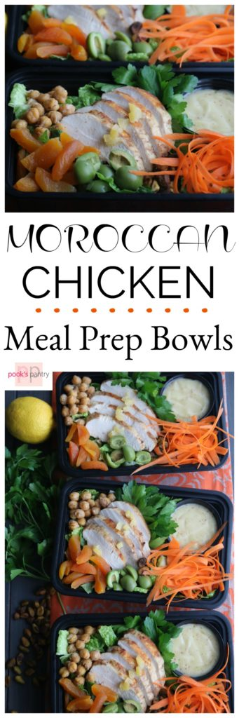 Moroccan Chicken Meal Prep Bowl | Pook's Pantry   Moroccan Chicken Meal Prep Bowls are a great way to add a little spice to your lunch. Spice rubbed chicken breasts, sweet, dried apricots, nutty chickpeas and crunchy pistachios on a bed of romaine lettuce prove that a healthy lunch doesn't have to be boring. This salad is full of flavor, high in protein and just might make you the envy of the lunchroom.