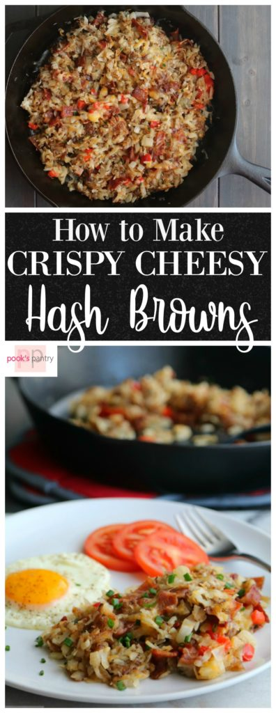 How to Make Crispy Cheesy Hash Browns!  Make your favorite restaurant quality hash browns at home with a few foolproof tips.   Easy, Cheesy Hash Browns are crispy, full of flavor and ready in under 30 minutes.