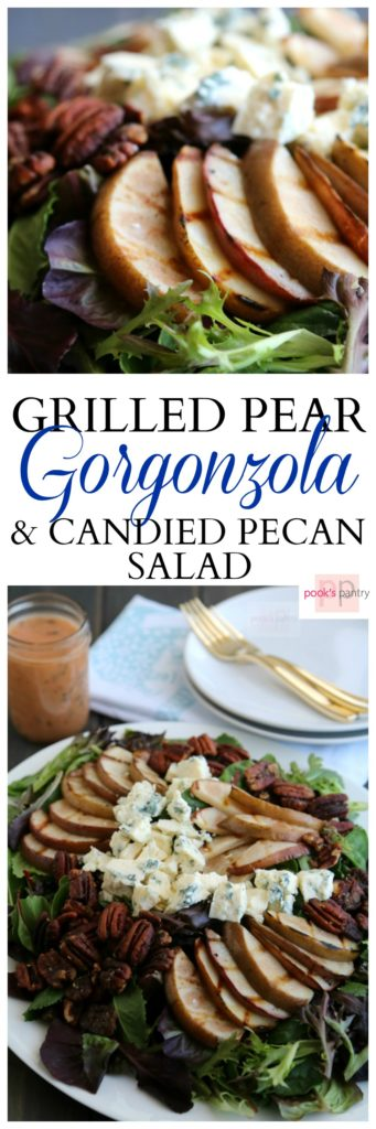 "Grilled Pear, Gorgonzola and Candied Pecan Salad | Pook's Pantry Grilled Pear Gorgonzola and Candied Pecan Salad is one of our ""go-to"" weekend lunches.  Sweet, salty candied pecans are the perfect compliment to sharp gorgonzola."