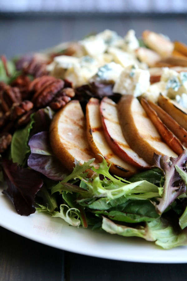 Grilled Pear Gorgonzola and Candied Pecan Salad