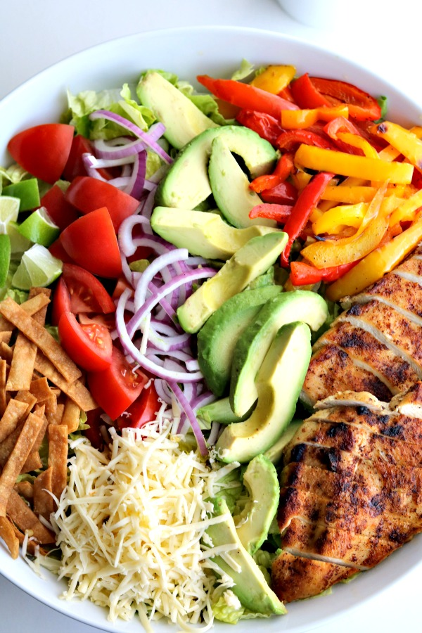overhead view of chicken taco salad