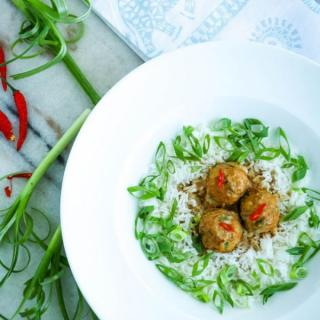 turkey meatballs with scallions and rice