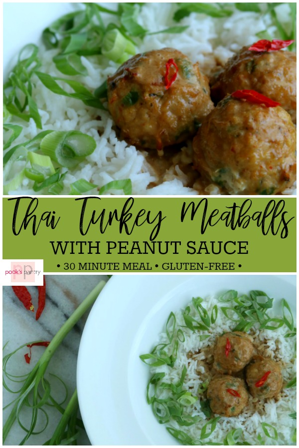Thai turkey meatballs are an easy weeknight dinner. This 30 minute meal is just the slightest bit spicy and full of flavor. Tender, juicy turkey meatballs flavored with green curry, ginger and garlic served with peanut sauce for a delicious midweek meal. Ground turkey is a staple in our house, so these are always just a half an hour away! This recipe is also perfect for meal-prepping, so make a double batch. www.pookspantry.com