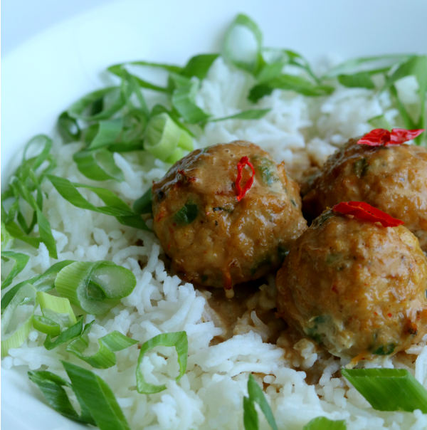 Thai Turkey Meatballs with Peanut Sauce