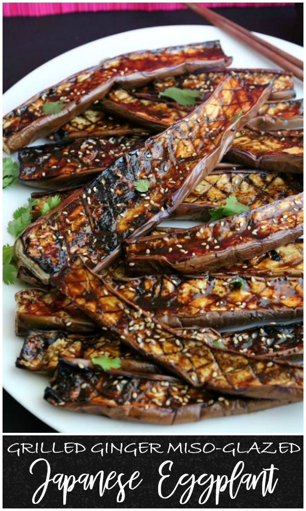 The flavors are an obvious match made in heaven and the Japanese eggplant makes a perfect canvas to soak them up.  This side is perfect for entertaining, as it is easy to make a big platter in no time.  It is a simple dish, but this grilled ginger miso-glazed Japanese eggplant has amazing flavor.