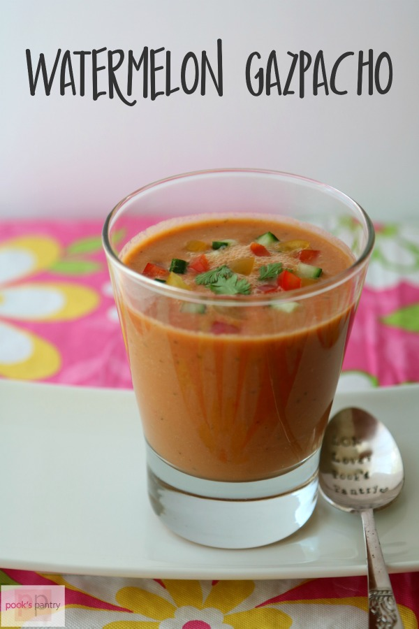 Watermelon gazpacho is a wonderfully light summer meal. Made with fresh watermelon, juicy tomatoes, crisp cucumbers and bell peppers, it has just a bit zing from a jalapeño pepper. This soup improves overnight, so making it the day before is even better.