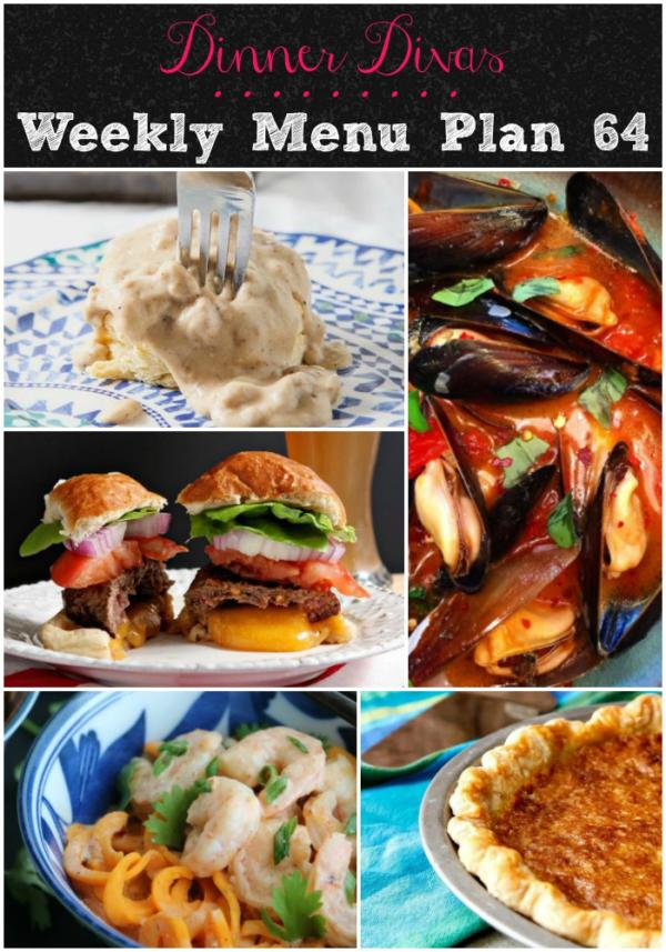 Every Friday morning, a new menu plan will be delivered to your email. It consists of 5 dinner options, plus 2 extras. Those two extras could be side dishes, dessert, drinks, etc. The Dinner Divas weekly menu plans feature (mostly) healthy, seasonal foods that don't take all day to prepare. Getting the weekly menu delivered to your inbox on Friday morning gives you the chance to make your shopping list and get organized for the week ahead.