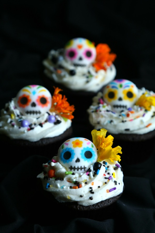 Day of the Dead Cupcakes on black background