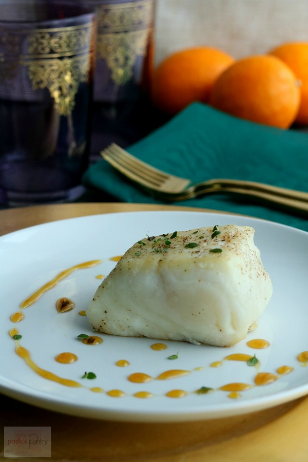 seared halibut with meyer lemon gastrique