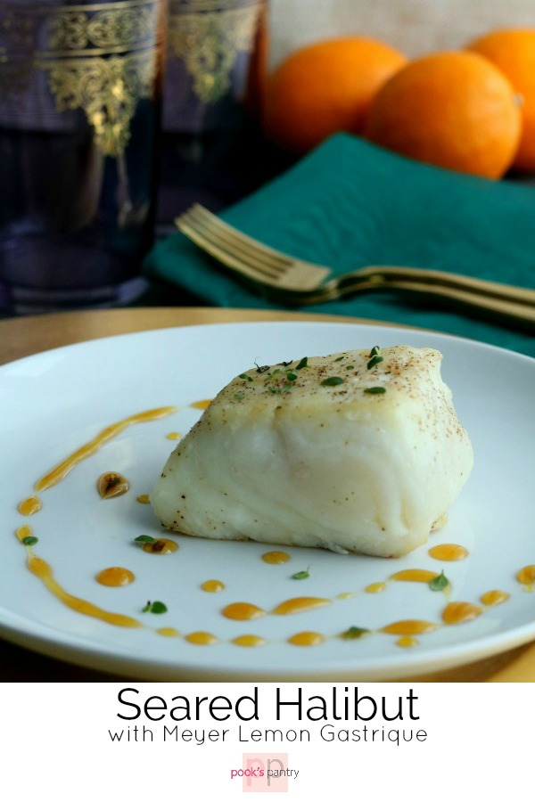 Pan-seared halibut served with a sweet and sour Meyer lemon gastrique. This restaurant quality dish is easily made at home with only a handful of ingredients.  It looks and sounds rather fancy, but it's actually fairly easy and it's done in under 30 minutes.