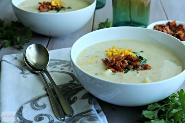 Potato Corn Chowder with Bacon & Leeks