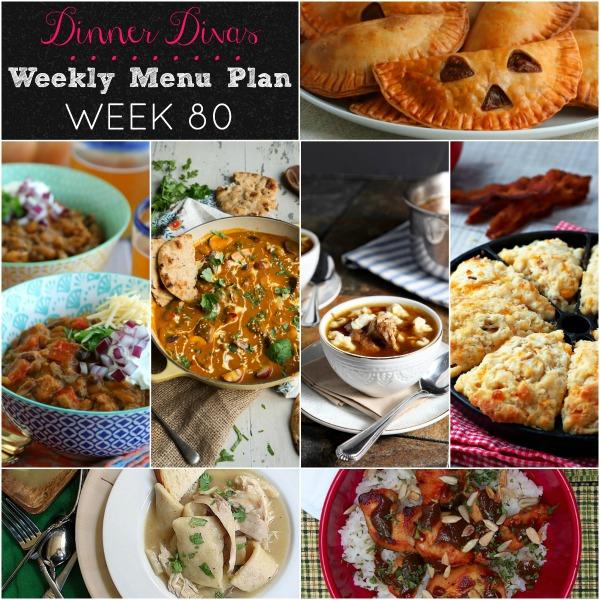 collage of photos for dinner divas weekly menu plan week 80