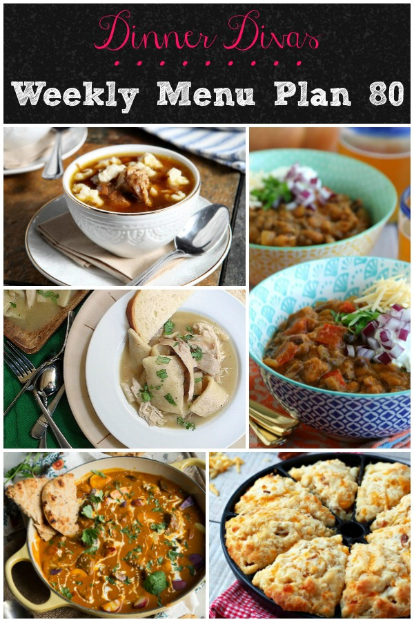 collage of recipes for dinner divas weekly menu plan