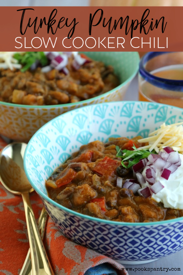Turkey pumpkin chili is a great fall dinner that can be made in the slow cooker.