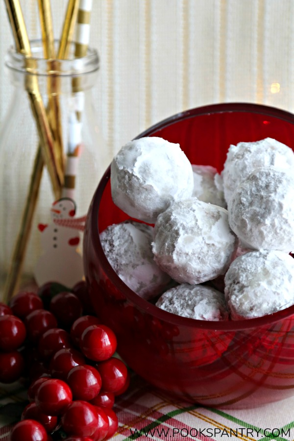 Easy rum balls recipe in red glass bowl