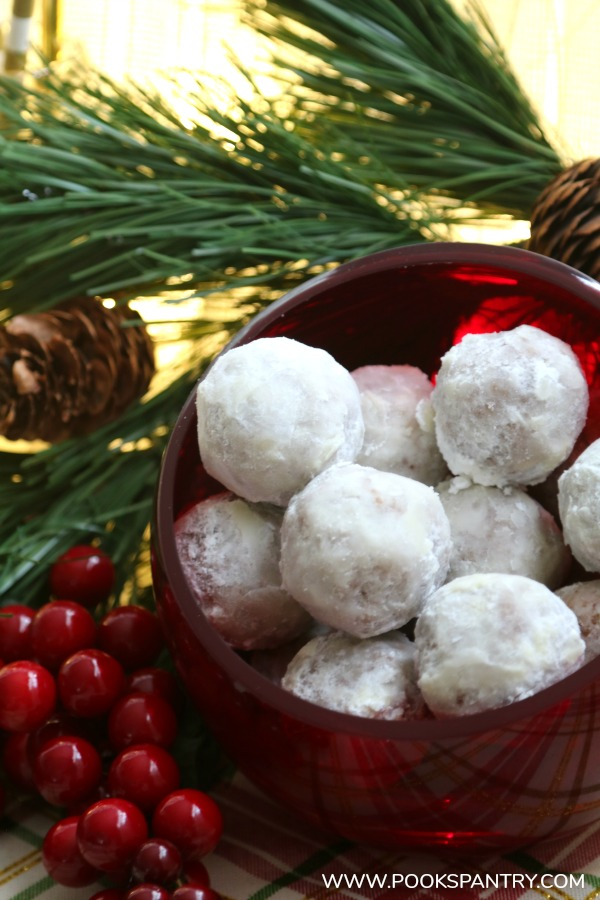 red glass bowl with easy rum balls