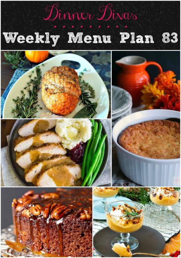 collage of images for dinner divas weekly menu 83
