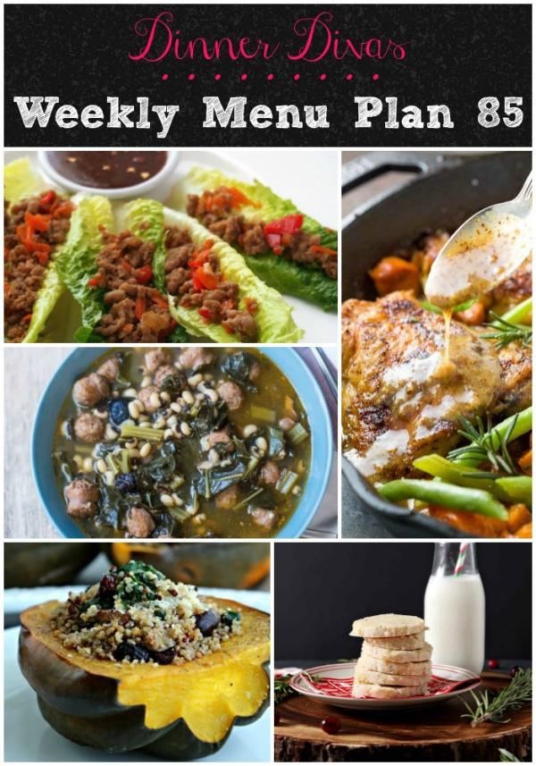 pin collage of weekly menu recipes