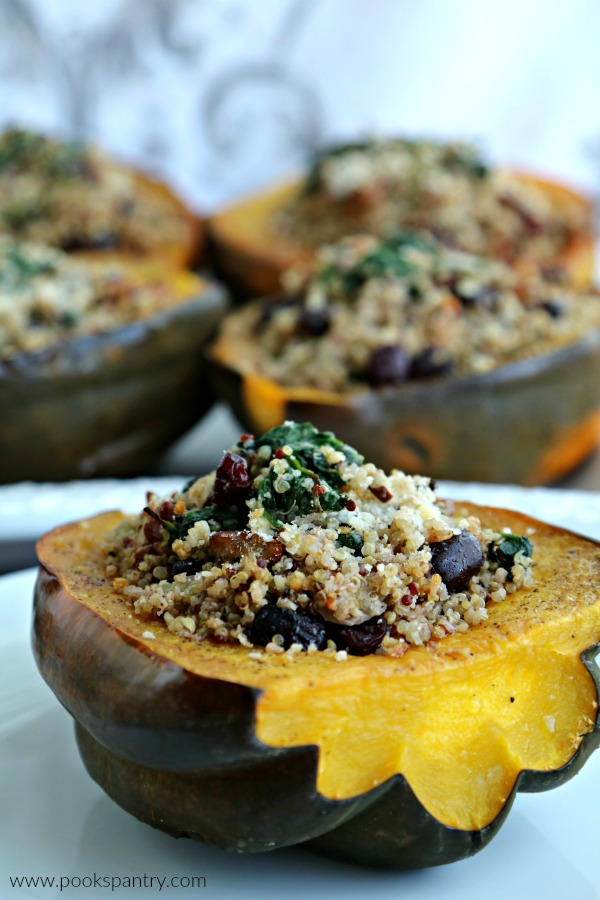 close up photo of vegetarian stuffed acorn squash
