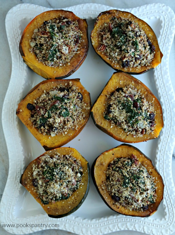 acorn squash on large white platter