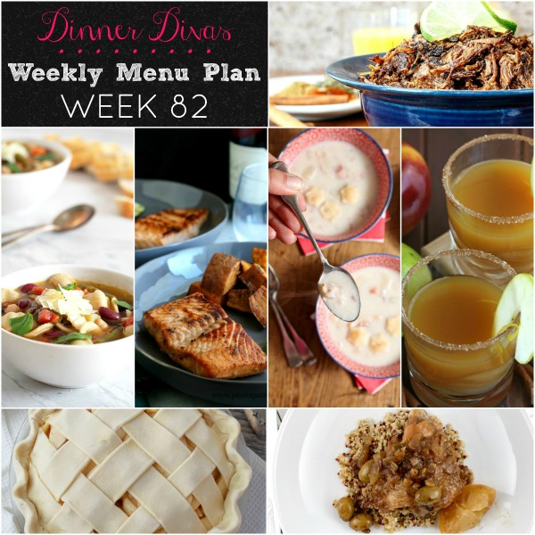 collage of dinners for weekly menu plan
