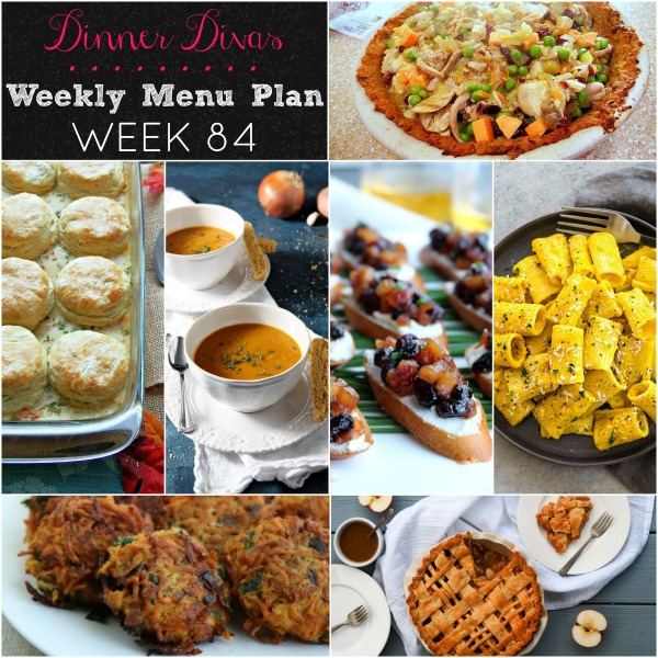 collage of photos for weekly menu plan