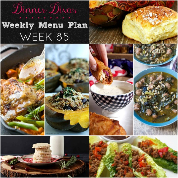collage of photos for dinner divas weekly menu plan