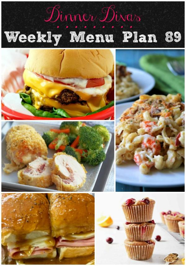 collage of images for dinner divas weekly menu plan 89