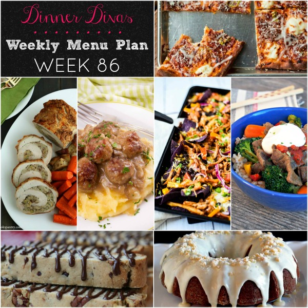 collage of pics for weekly menu plan 86