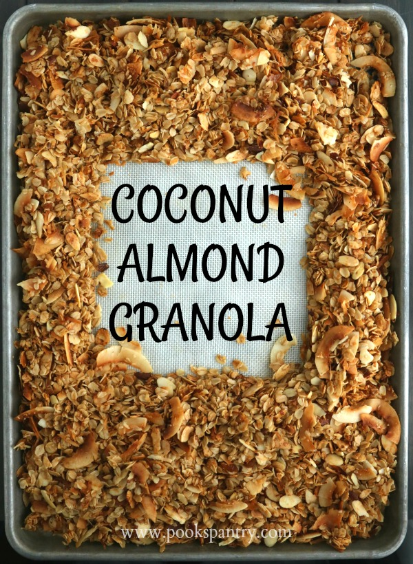 sheet pan with coconut almond granola