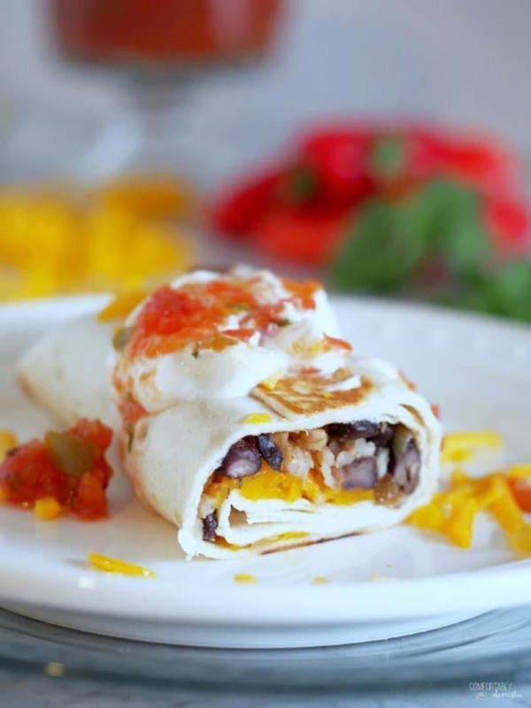 black bean burrito on white plate