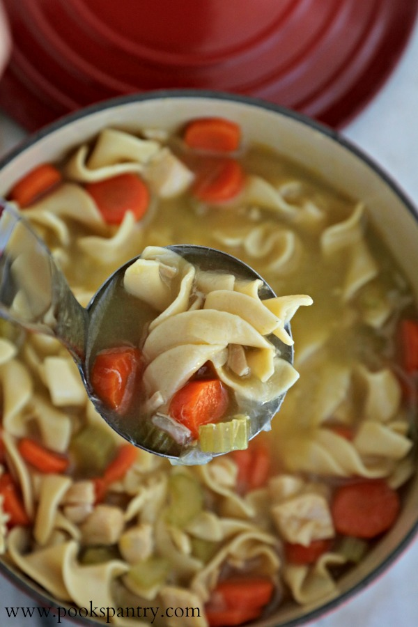 ladle of soup over red pot with chicken noodle soup