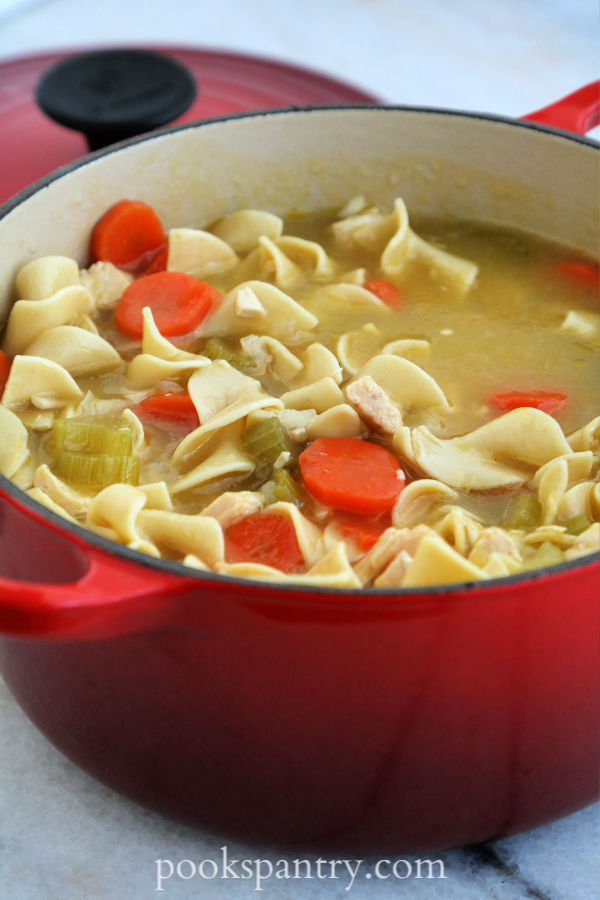 pot of chicken noodle