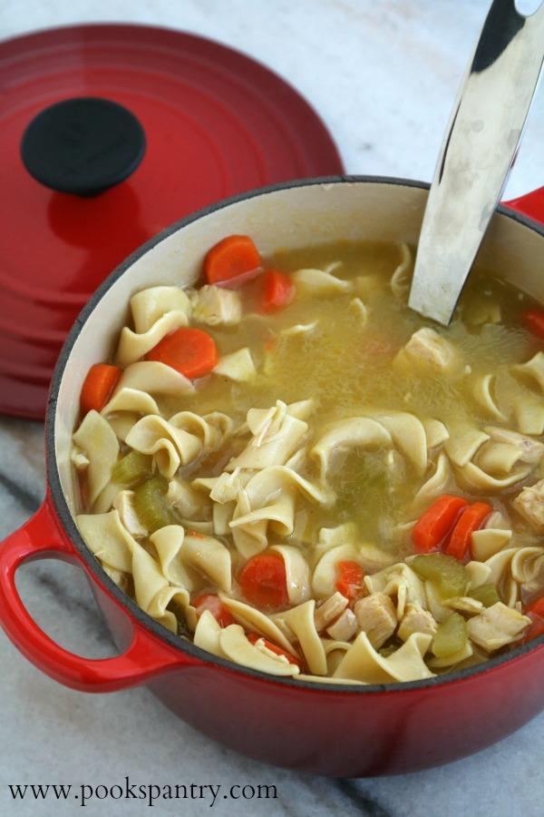 pot of chicken noodle soup with ladle